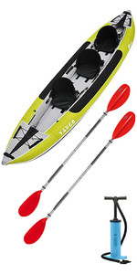 2019 Z-Pro Tango 3 Man Inflatable Kayak TA300 GREEN & 2 PADDLES & Stirrup Pump
