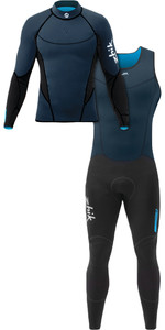 Zhik Homens Zhik V 1mm Neoprene Top & Zhik Microfleece V Skiff Long John Wetsuit Combi-set Navy