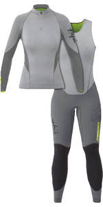 2020 Zhik Mujer Zhik X 3/2mm Neopreno Top Y Skiff Long John Wetsuit Combi-set Gris