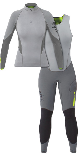 2019 Zhik Womens Superwarm X 3/2mm Neoprene Top & Zhik Womens Superwarm X Siff Long john Wetsuit Combi-Set Grey
