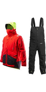 2020 Zhik Mens Apex Offshore Sailing Jacket & Kiama Trouser Combi Set - Fire Red / Anthracite Black
