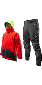 2020 Zhik Mens Apex Offshore Sailing Jacket & Trouser Combi Set - Fire Red / Anthracite Black