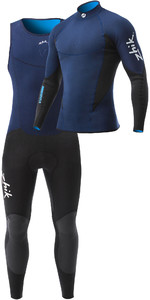 Zhik Mens Microfleece V 1mm Neoprene Top & Long John Wetsuit Combi Set