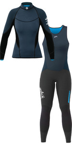 Zhik Micropile V Delle Donne 1mm Top A Manica Lunga In Neoprene E Long John Combi Set Navy