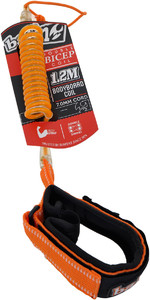 2021 Balin Double Bicep Swivel Coil 1.2M Bodyboard Leash Large 01BBDDCBLTCO - Orange