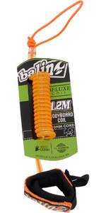 2020 Balin Deluxe Coil 1.2M Bodyboard Wrist Leash Orange