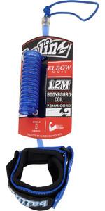2020 Balin Elbow Coil 1.2M Bodyboard Leash Blue 01-BBDCE