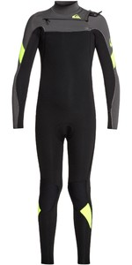 2020 Quiksilver Junior Niño Syncro 3/2mm Traje De Neopreno Con Chest Zip Eqbw103051 - Negro / Jet Black