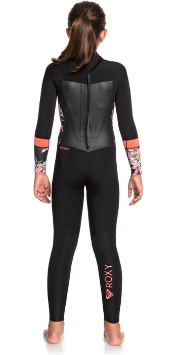 2020 Roxy Girls Syncro 4/3mm Back Zip Wetsuit ERGW103032 - Black / Bright Coral