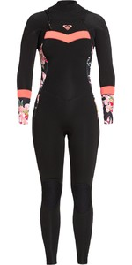 2020 Roxy Feminino Syncro 5/4/3 5/4/3mm Chest Zip Wetsuit Erjw103057 - Preto / Coral Brilhante