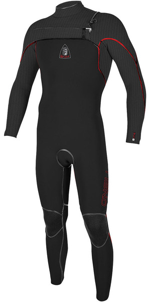 2018 Jack O'Neill Legend 3.5 / 2mm GBS Chest Zip Wetsuit Negro / Rojo - LTD EDITION 5223