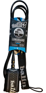 2020 Balin Longboard 7.4mm Double Swivel Leash Longboard - Black - 10ft