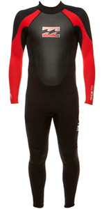 Billabong Junior Intruder 3/2mm Flatlock Neoprenanzug Schwarz / Rot S43b04