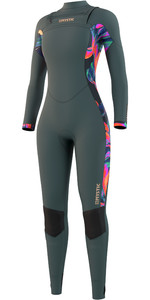 2021 Mystic Dazzled 5/3mm Wetsuit Met Chest Zip Dames 210078 - Donker Blad