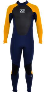 Billabong Junior Intruder 5/4mm Back Zip Gbs Wetsuit Azul / Laranja O45b10