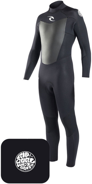 2018 Rip Curl Omega Wetsuit 3/2mm Black & Neoprene Wetty Change Mat Bundle Offer