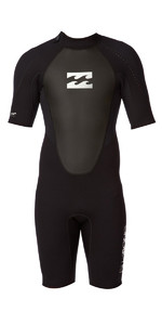 Billabong Junior Intruder 2mm Shorty Back Zip Kort Wetsuit Zwart S42B08