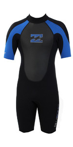 2019 Billabong Júnior Intruder 2mm Back Zip Shorty Wetsuit Preto S42b08 / Azul