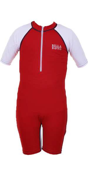 Billabong Go Bananas Short Sleeved Sun Suit in Fire Red P4KY12