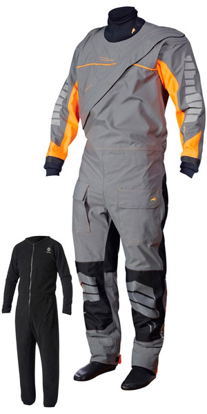 Crewsaver Phase 2 Front Zip Drysuit Grau / Orange + UNDERSUIT & Drybag 6923
