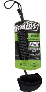 2021 Balin Standard Coil 1.2M Bodyboard Wrist Leash 01BBECK - Black