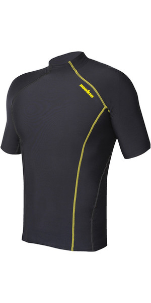 2018 Nookie Base térmica Softcore manga corta Top negro / amarillo TH50
