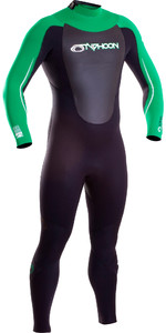 2019 Typhoon Vortex 5/4/3mm GBS Back Zip Wetsuit Black / Green 250652