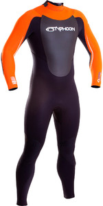 2019 Typhoon Vortex 5/4/3mm GBS Back Zip Wetsuit Black / Orange 250653