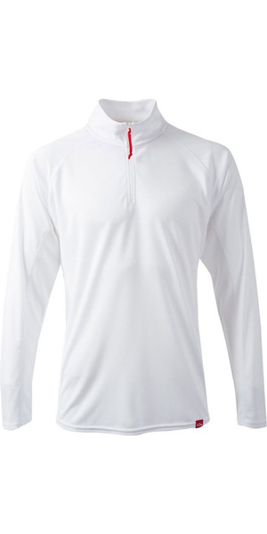 2018 Gill Mens UV Tec Zip Neck Top en ARCTIQUE BLANC UV003