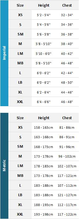 Typhoon Mens Drysuits 19 Mens Gráfico do tamanho