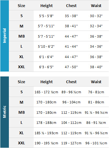 Gul Mens Drysuits 19 Mens Size Chart