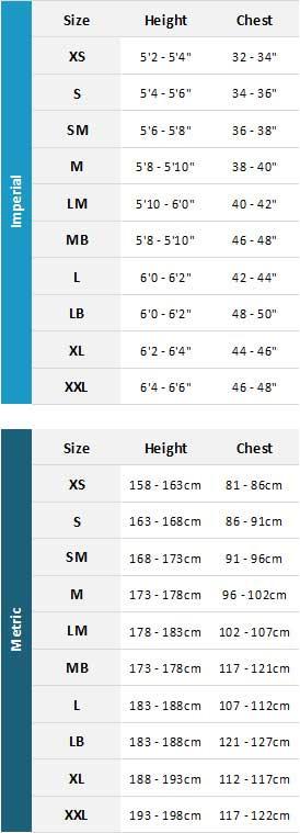 Typhoon Mens Drysuits 19 Mens Size Chart